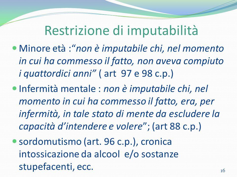 Restrizione di imputabilità