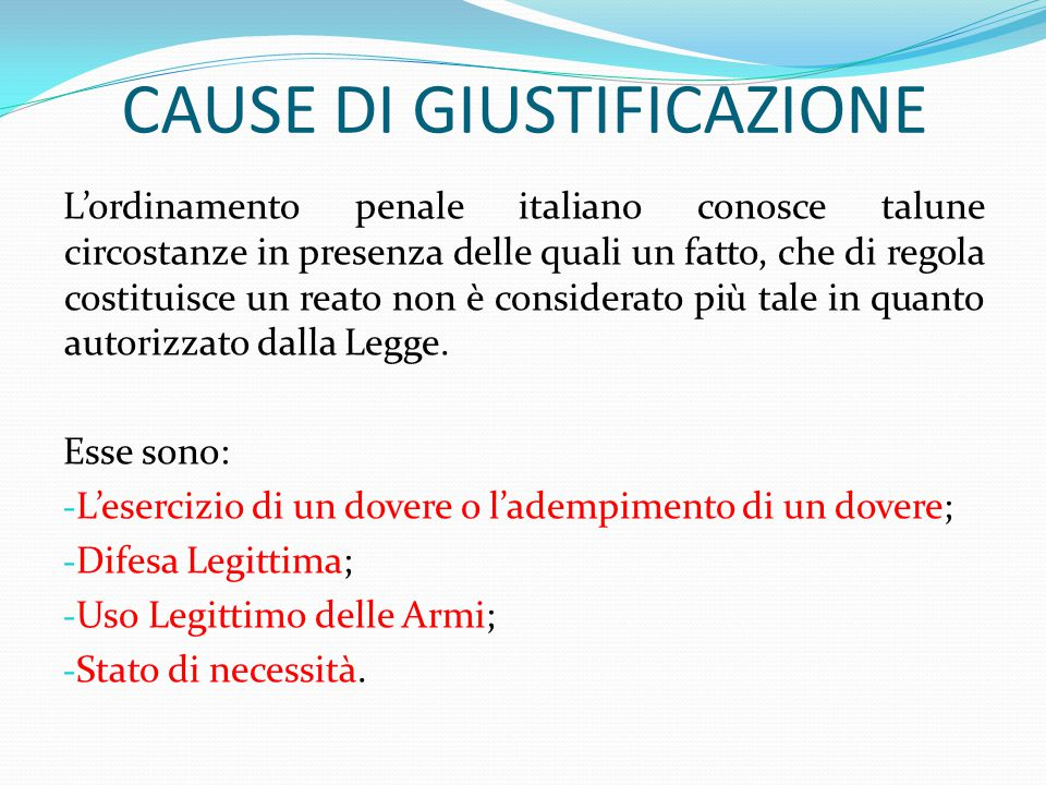 CAUSE DI GIUSTIFICAZIONE