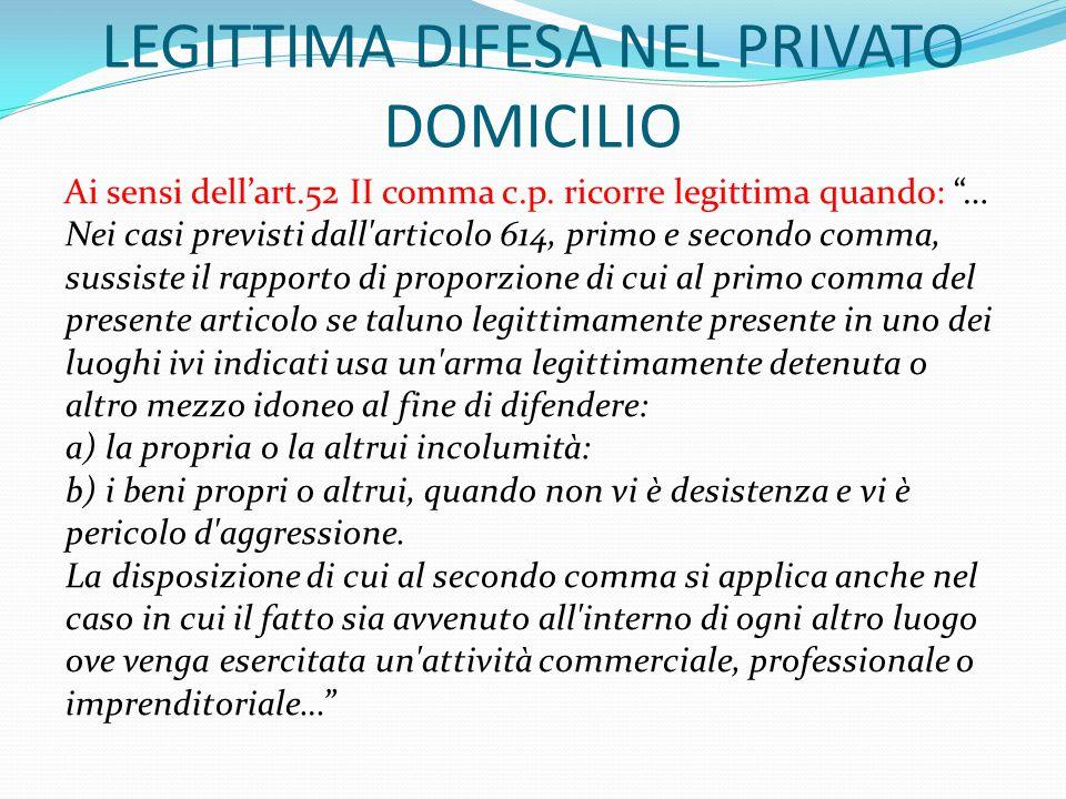 LEGITTIMA DIFESA NEL PRIVATO DOMICILIO