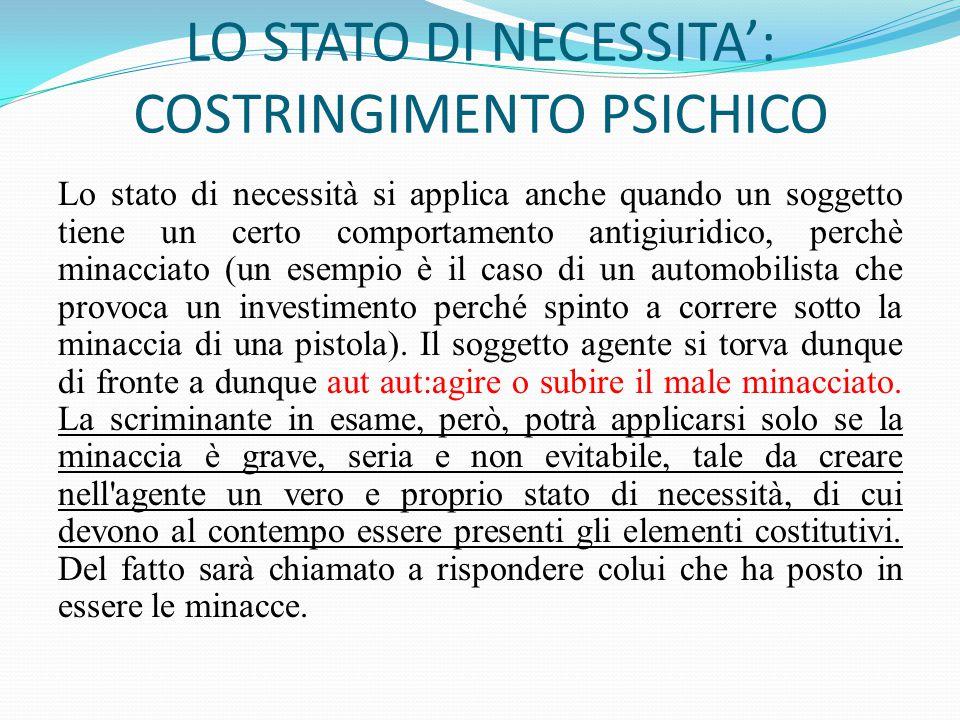 LO STATO DI NECESSITA': COSTRINGIMENTO PSICHICO