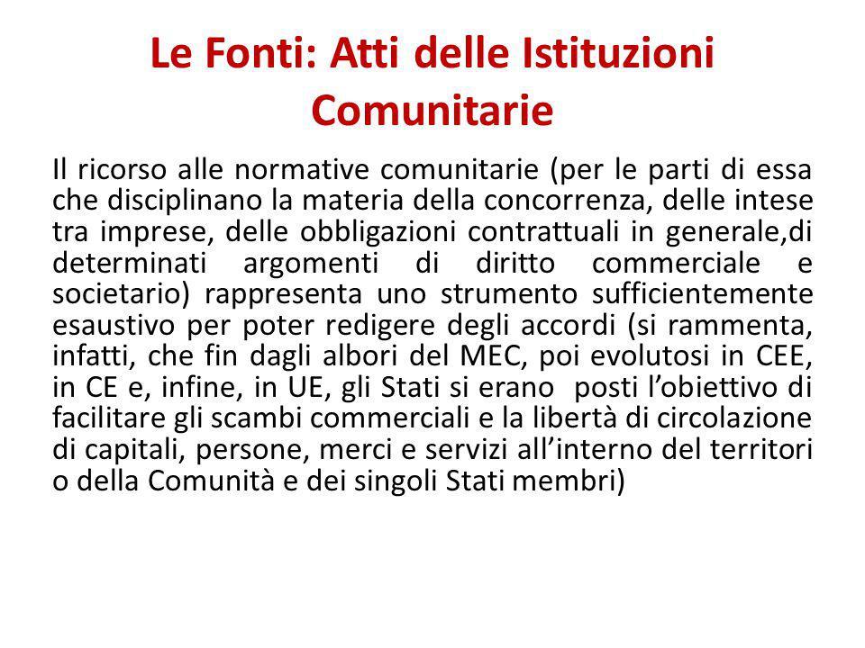 Le Fonti: Atti delle Istituzioni Comunitarie