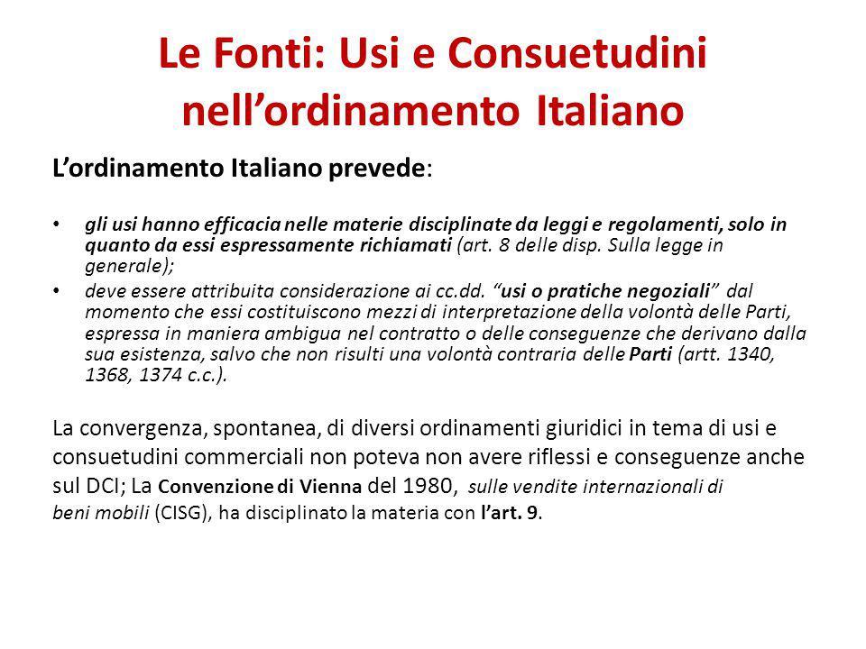 Le Fonti: Usi e Consuetudini nell'ordinamento Italiano