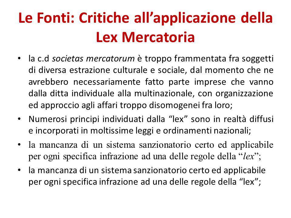 Le Fonti: Critiche all'applicazione della Lex Mercatoria