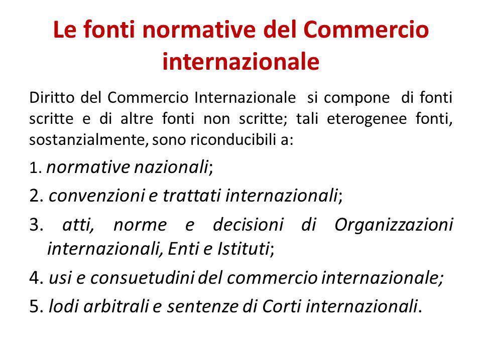 Le fonti normative del Commercio internazionale