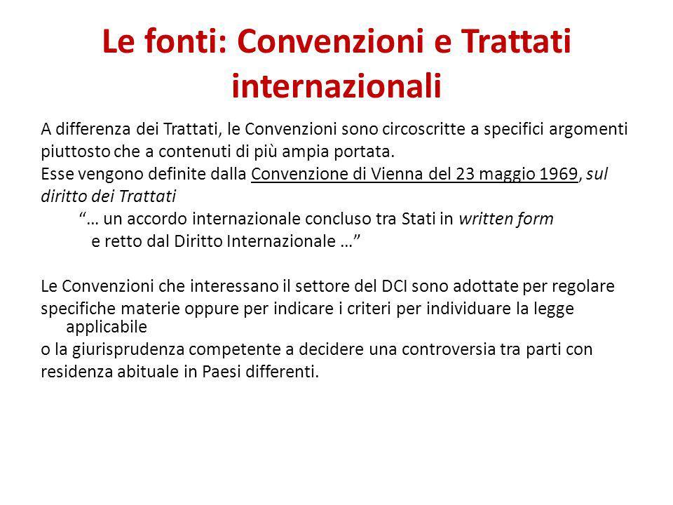 Le fonti: Convenzioni e Trattati internazionali