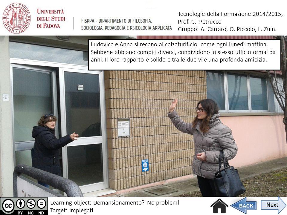 Tecnologie della Formazione 2014/2015, Prof. C. Petrucco Gruppo: A