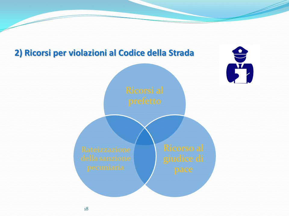 2) Ricorsi per violazioni al Codice della Strada