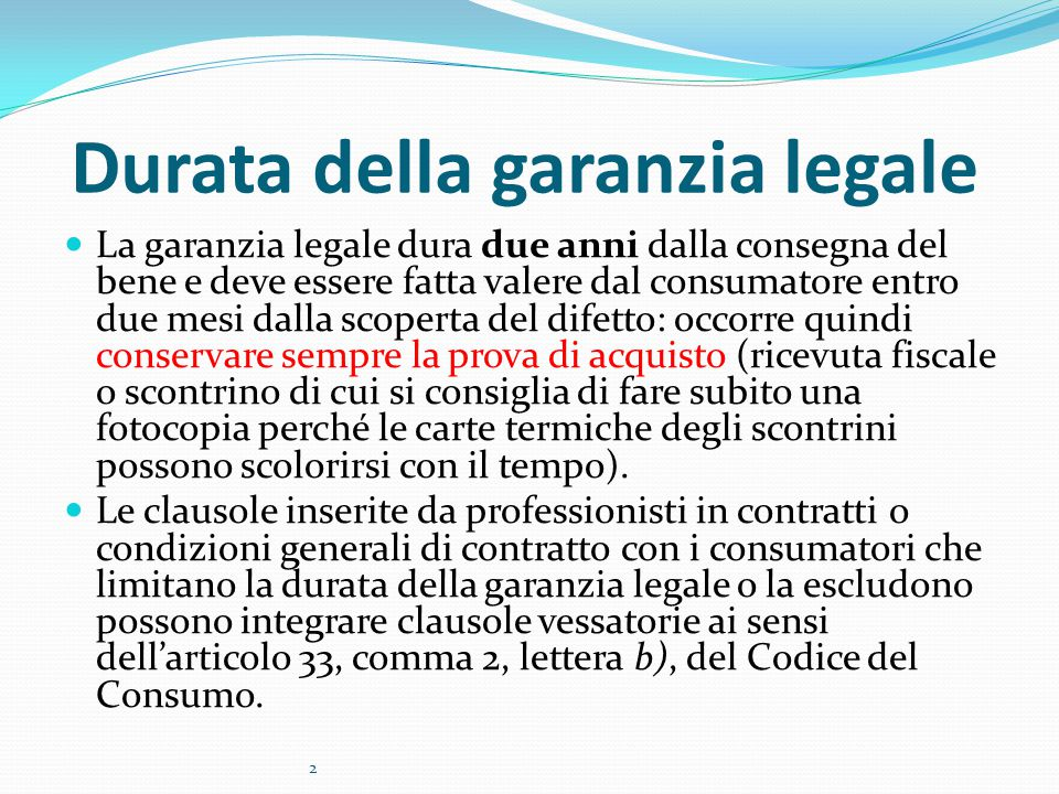Durata della garanzia legale