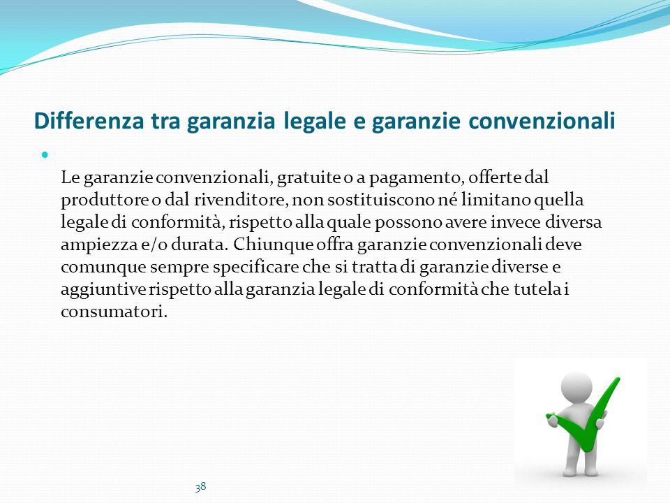 Differenza tra garanzia legale e garanzie convenzionali