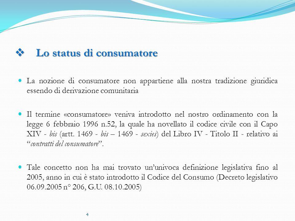Lo status di consumatore
