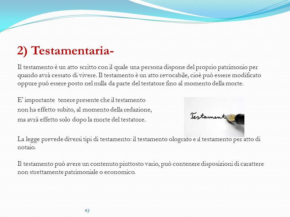 2) Testamentaria-