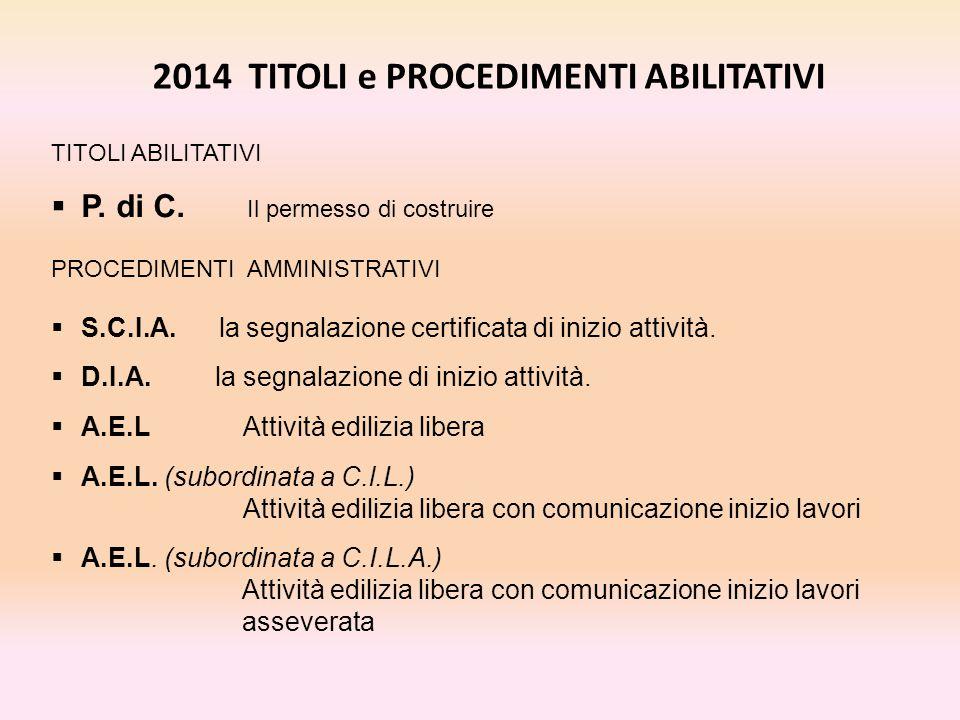 2014 TITOLI e PROCEDIMENTI ABILITATIVI