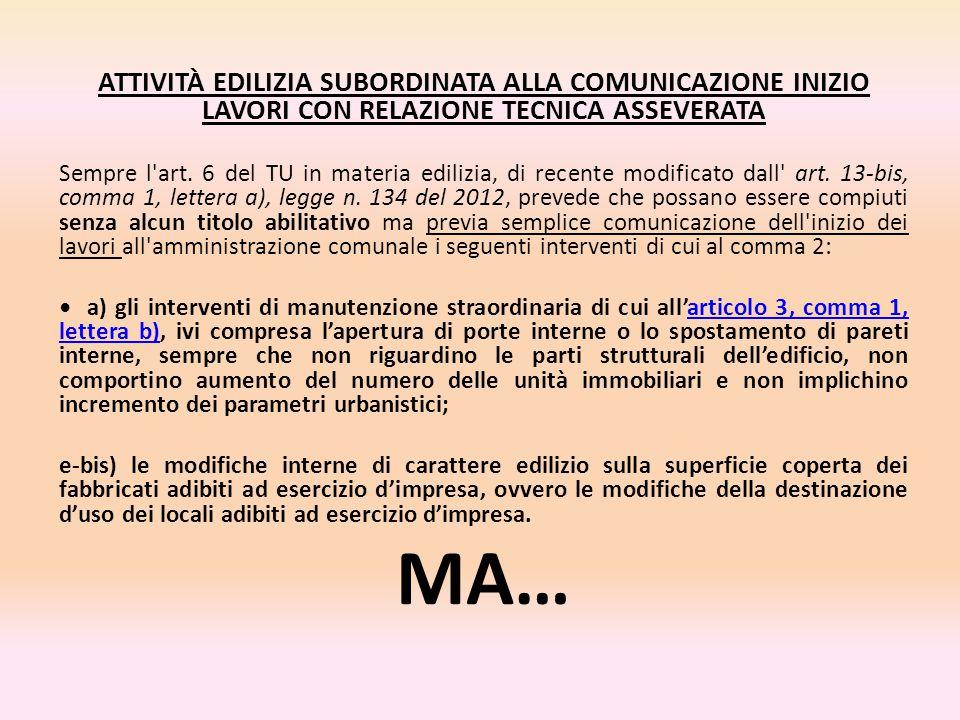 ATTIVITÀ EDILIZIA SUBORDINATA ALLA COMUNICAZIONE INIZIO LAVORI CON RELAZIONE TECNICA ASSEVERATA