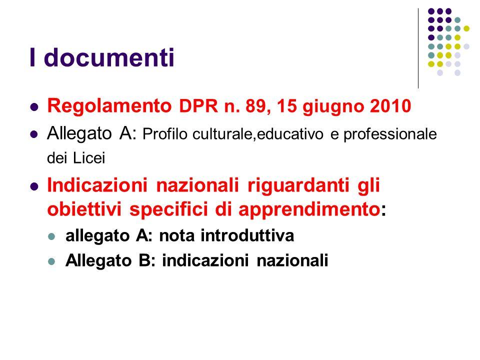 I documenti Regolamento DPR n. 89, 15 giugno 2010