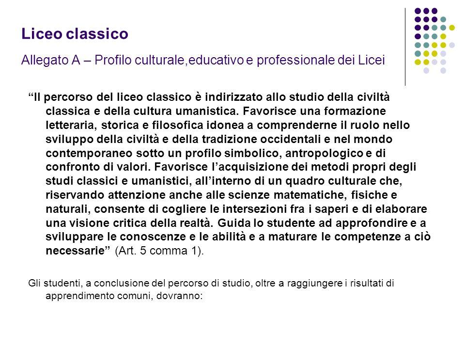 Liceo classico Allegato A – Profilo culturale,educativo e professionale dei Licei