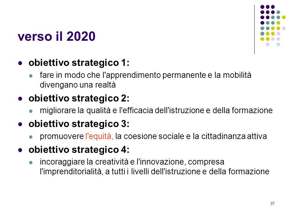 verso il 2020 obiettivo strategico 1: obiettivo strategico 2: