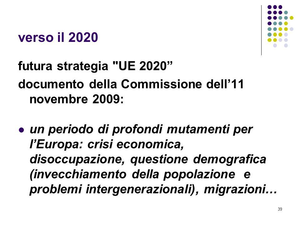 verso il 2020 futura strategia UE 2020