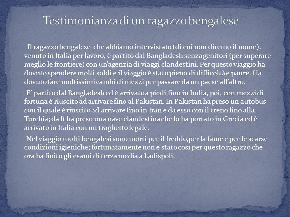 Testimonianza di un ragazzo bengalese