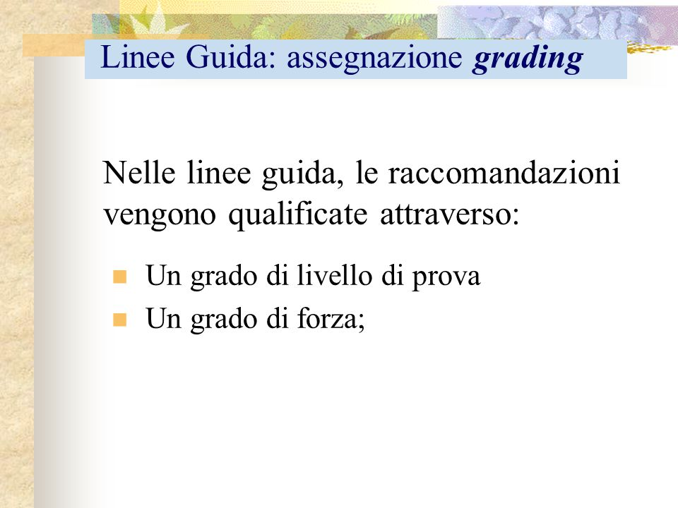 Linee Guida: assegnazione grading