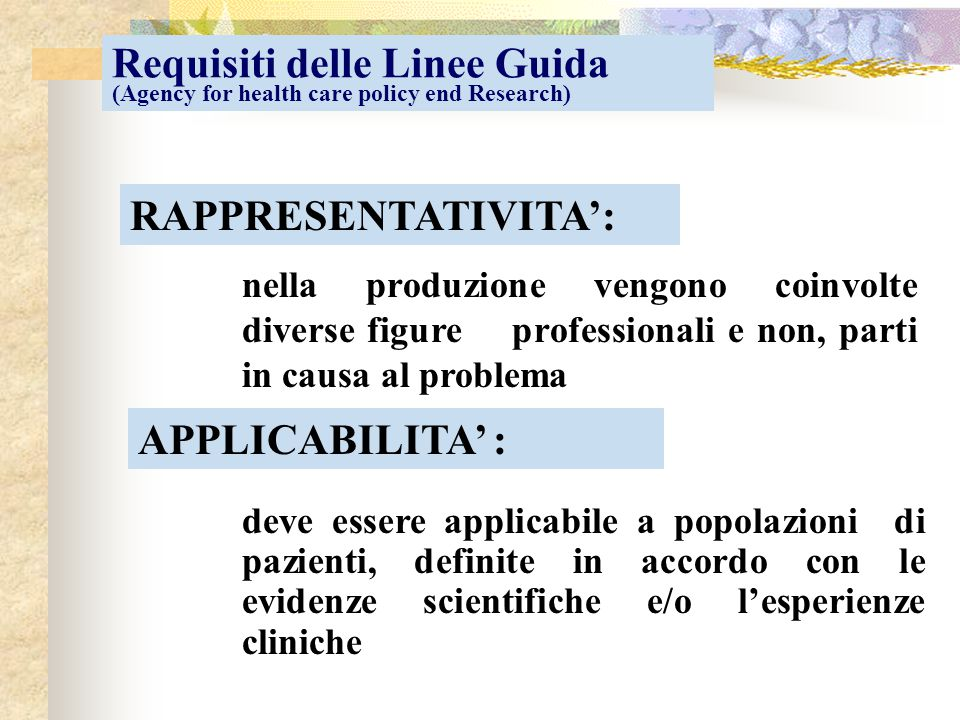 Requisiti delle Linee Guida (Agency for health care policy end Research)