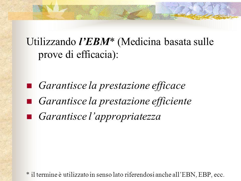 Utilizzando l'EBM* (Medicina basata sulle prove di efficacia):