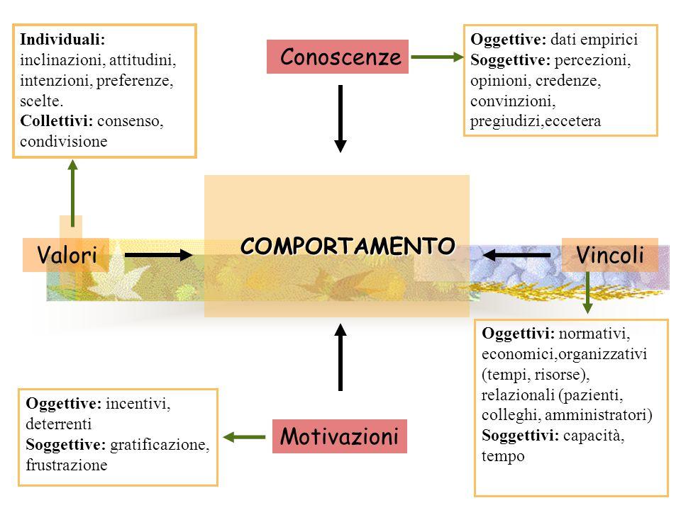 Conoscenze COMPORTAMENTO Valori Vincoli Motivazioni