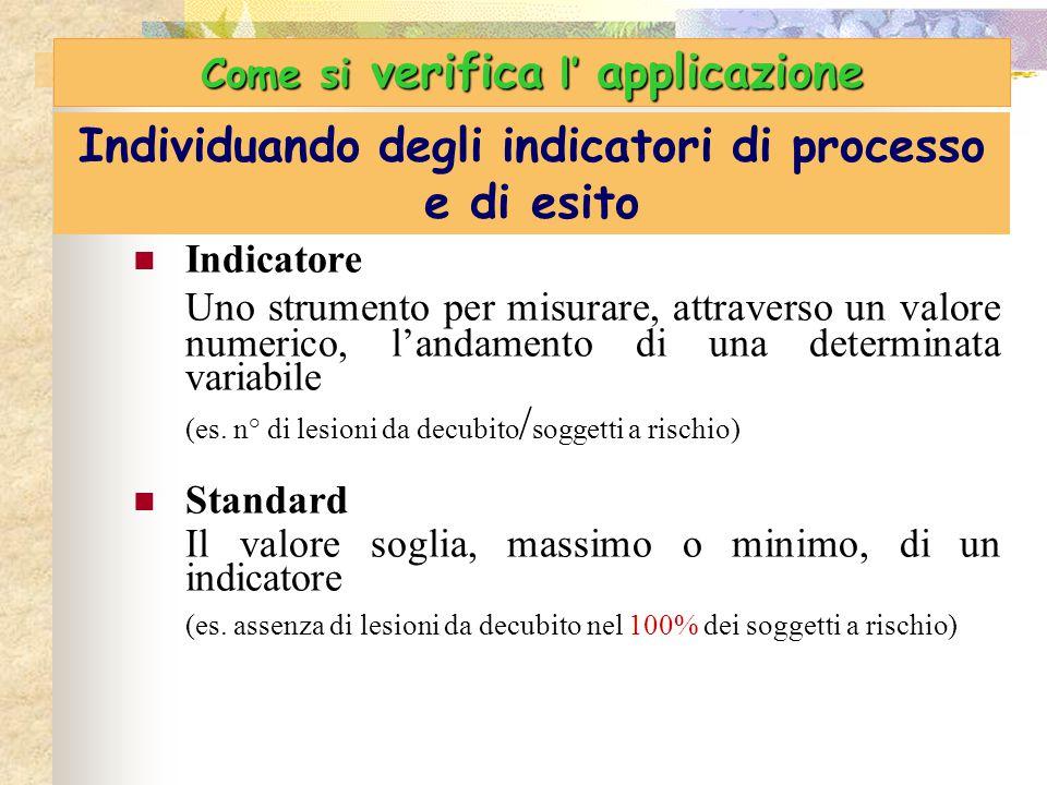 Individuando degli indicatori di processo e di esito