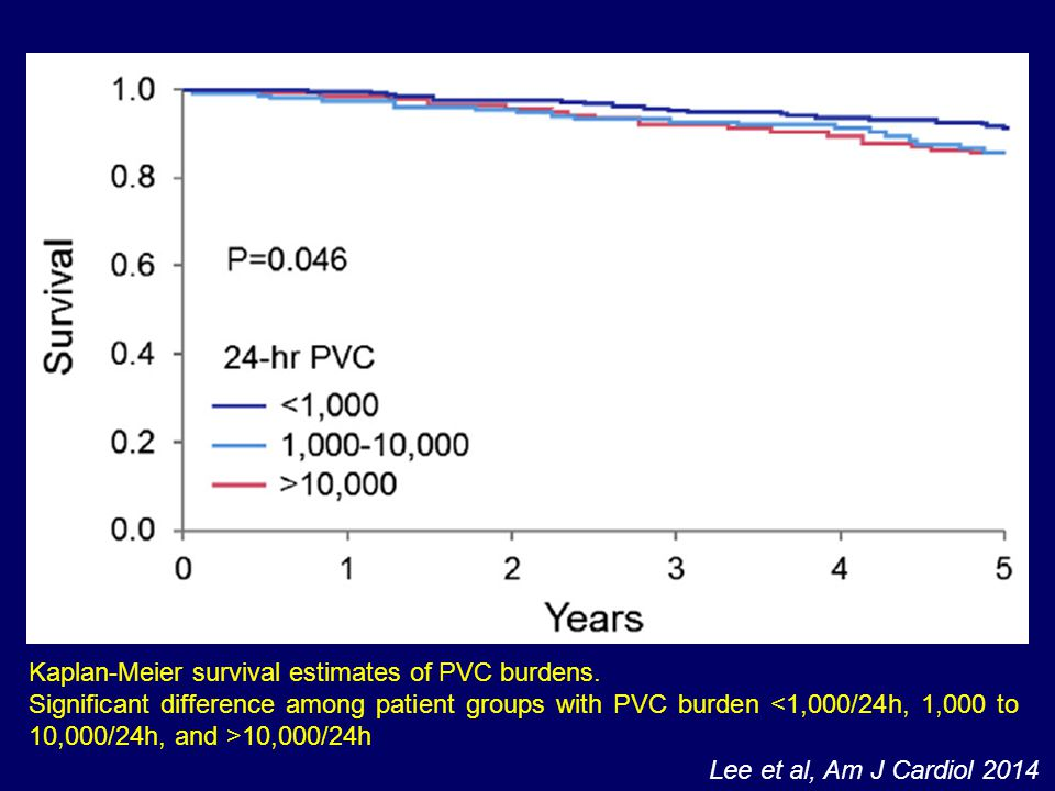Kaplan-Meier survival estimates of PVC burdens.