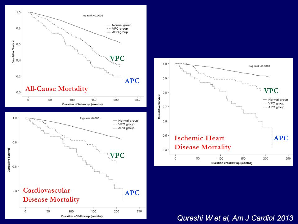 VPC APC. All-Cause Mortality. VPC. Ischemic Heart Disease Mortality. APC. VPC. Cardiovascular Disease Mortality.