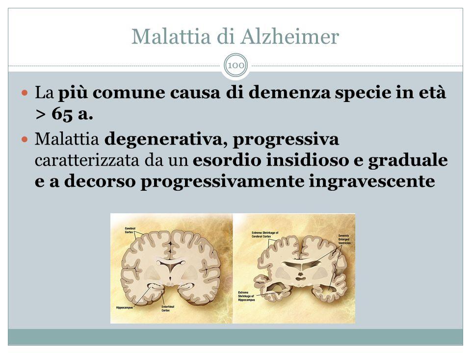 Malattia di Alzheimer La più comune causa di demenza specie in età > 65 a.
