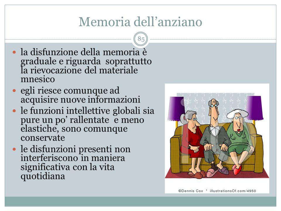 Memoria dell'anziano la disfunzione della memoria è graduale e riguarda soprattutto la rievocazione del materiale mnesico.