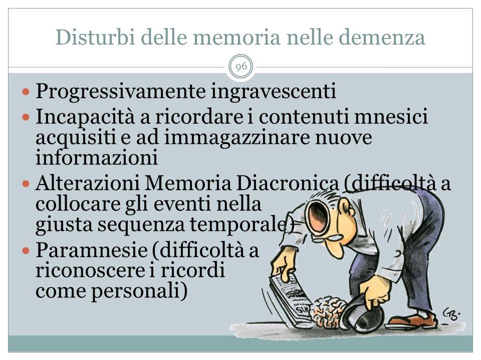 Disturbi delle memoria nelle demenza