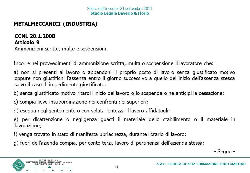 Slides dell'incontro 21 settembre 2011 Studio Legale Daverio & Florio