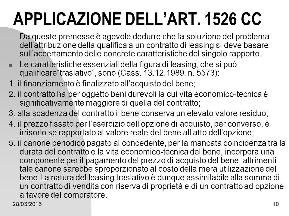 APPLICAZIONE DELL'ART. 1526 CC