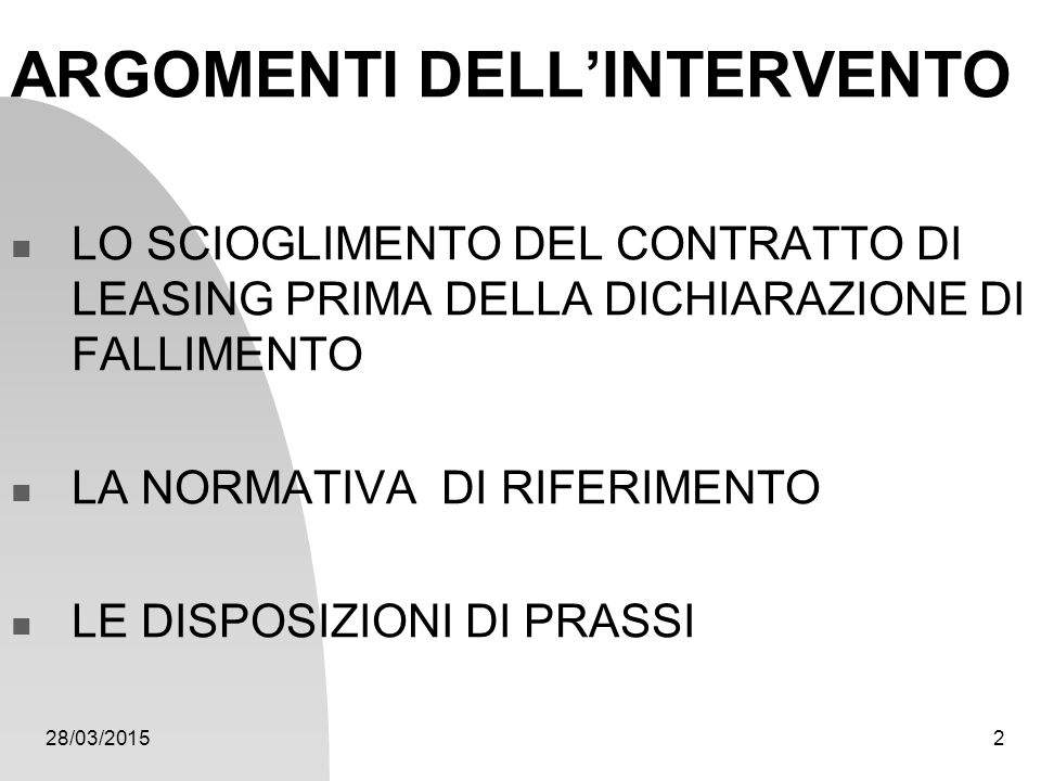 ARGOMENTI DELL'INTERVENTO