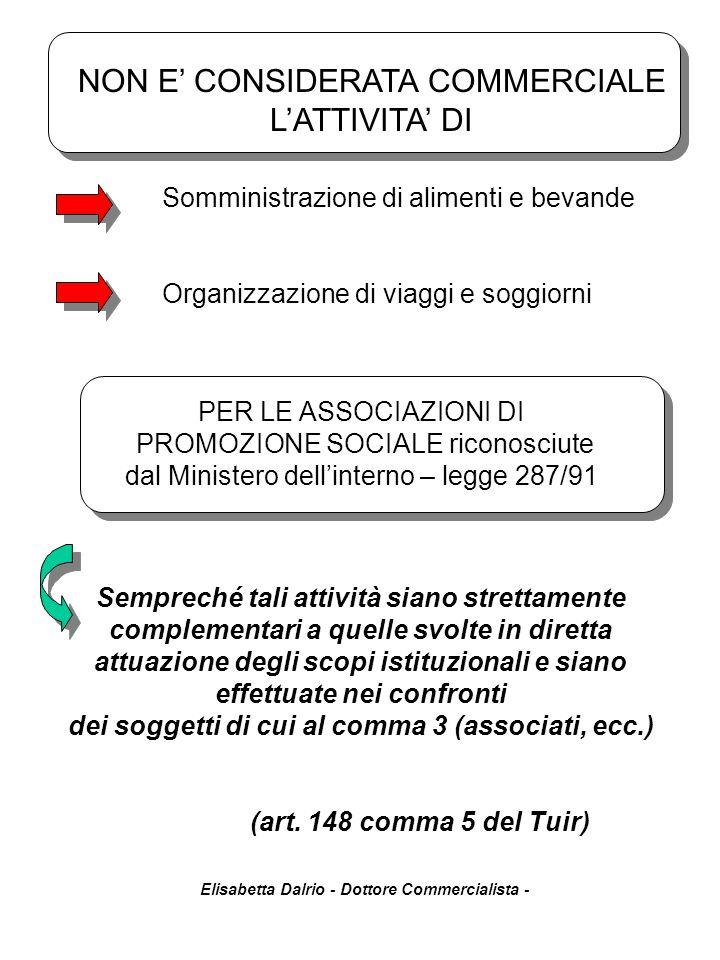 NON E' CONSIDERATA COMMERCIALE L'ATTIVITA' DI