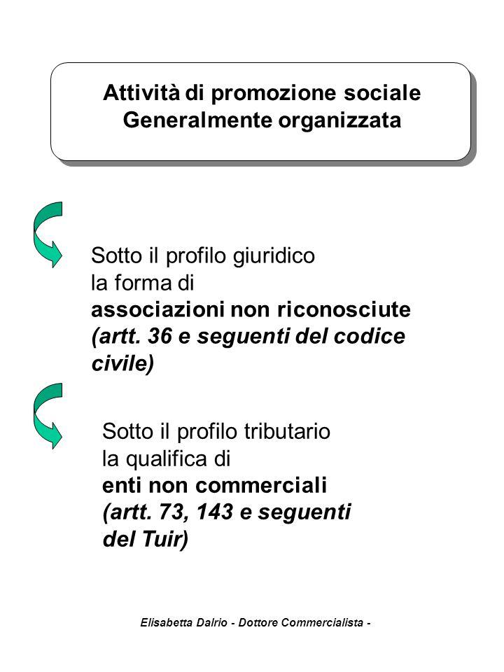 Attività di promozione sociale Generalmente organizzata