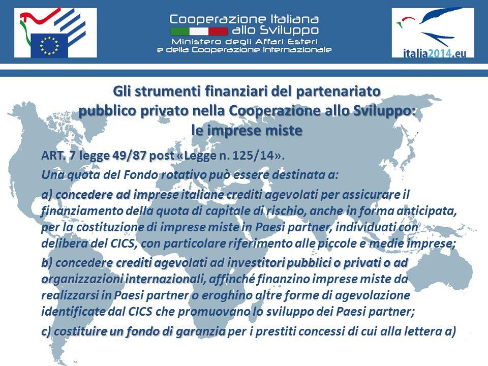 Gli strumenti finanziari del partenariato pubblico privato nella Cooperazione allo Sviluppo: le imprese miste