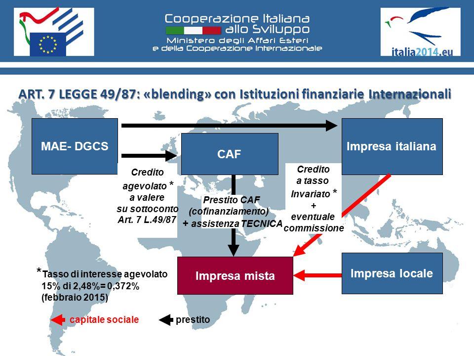 ART. 7 LEGGE 49/87: «blending» con Istituzioni finanziarie Internazionali