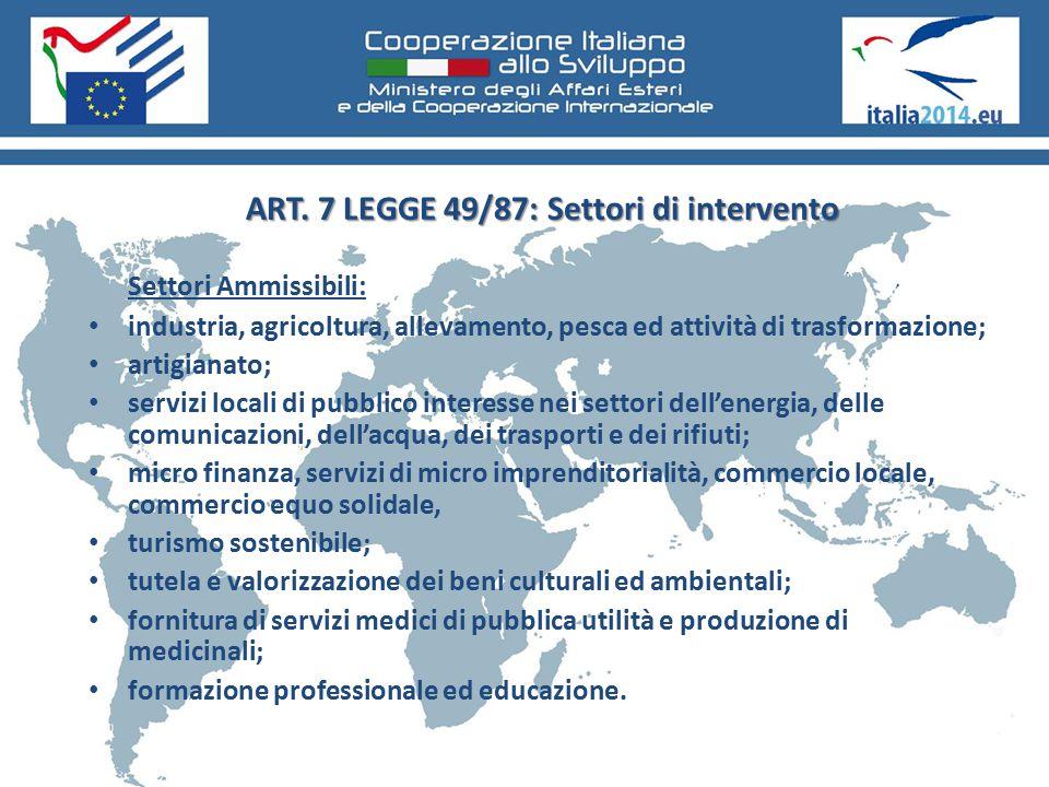 ART. 7 LEGGE 49/87: Settori di intervento