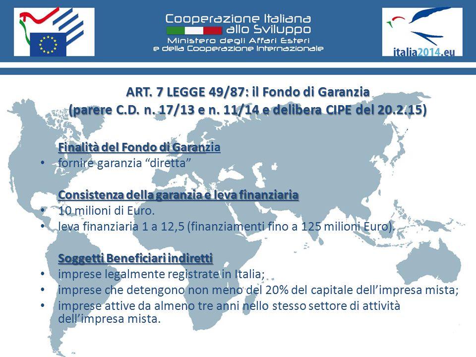 ART. 7 LEGGE 49/87: il Fondo di Garanzia (parere C. D. n. 17/13 e n