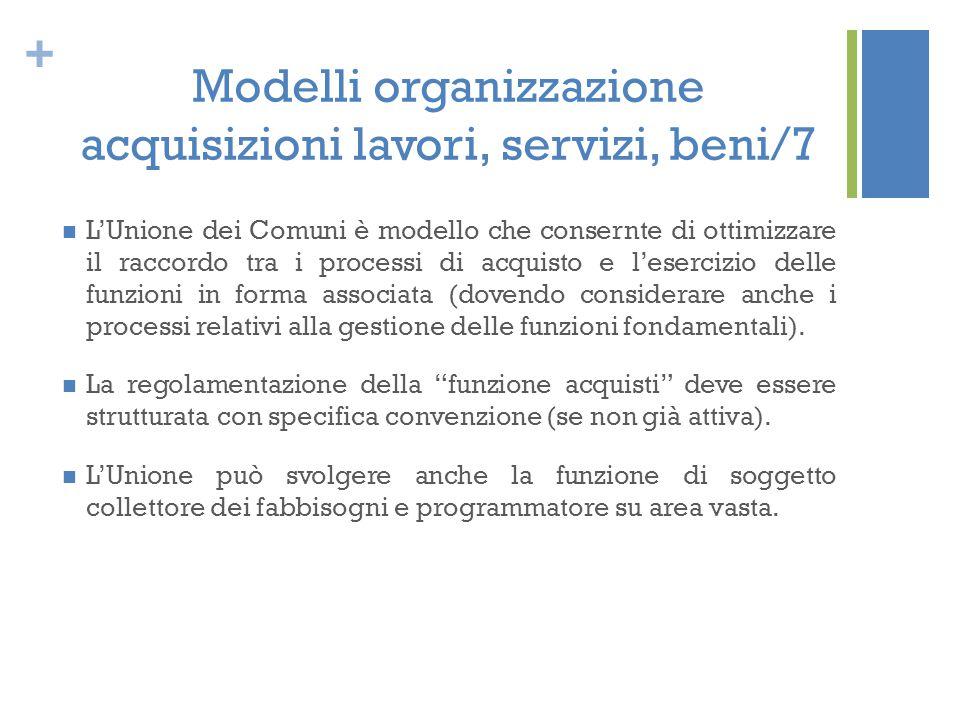 Modelli organizzazione acquisizioni lavori, servizi, beni/7