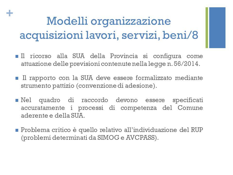 Modelli organizzazione acquisizioni lavori, servizi, beni/8