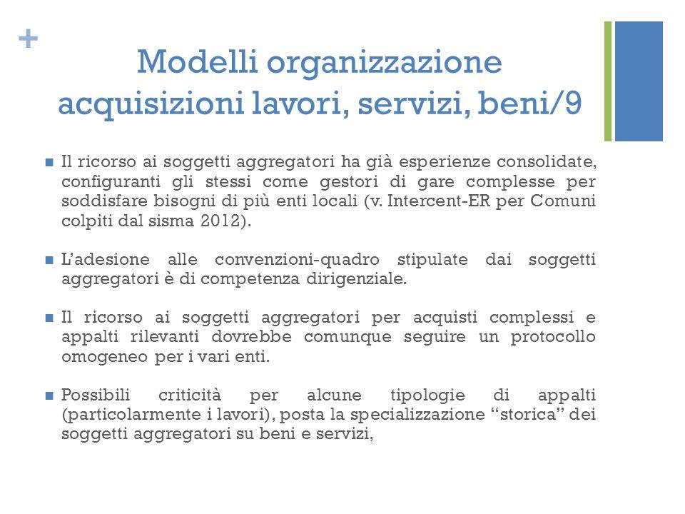 Modelli organizzazione acquisizioni lavori, servizi, beni/9