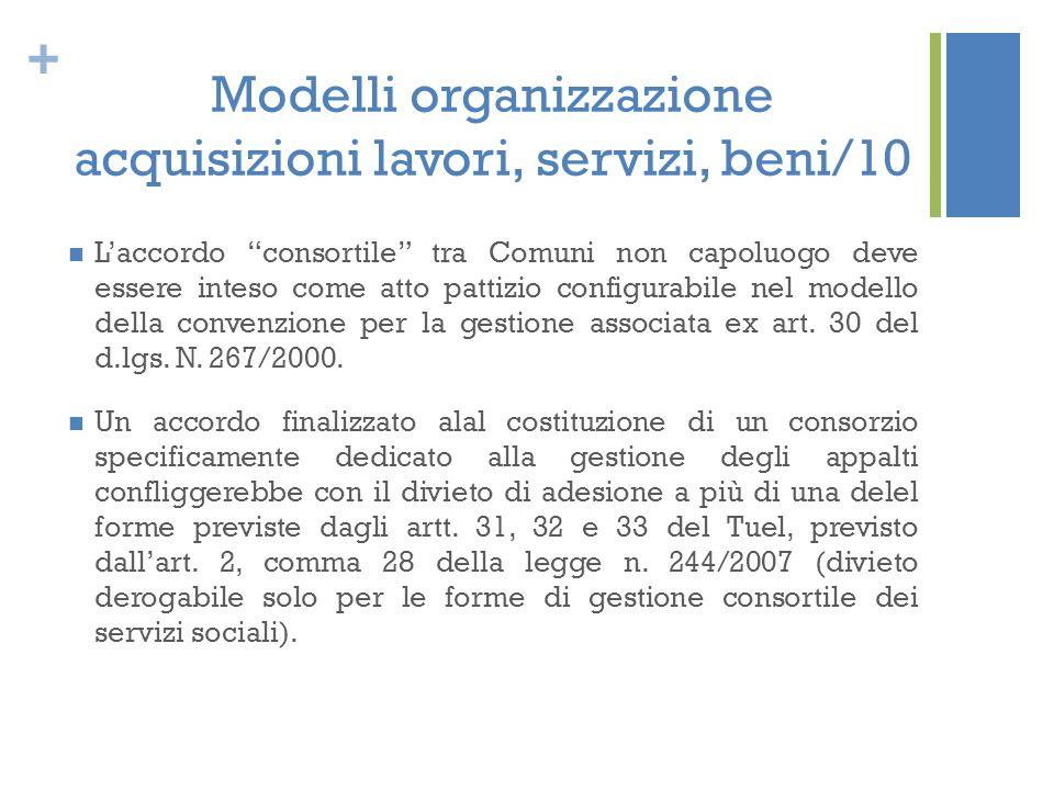 Modelli organizzazione acquisizioni lavori, servizi, beni/10