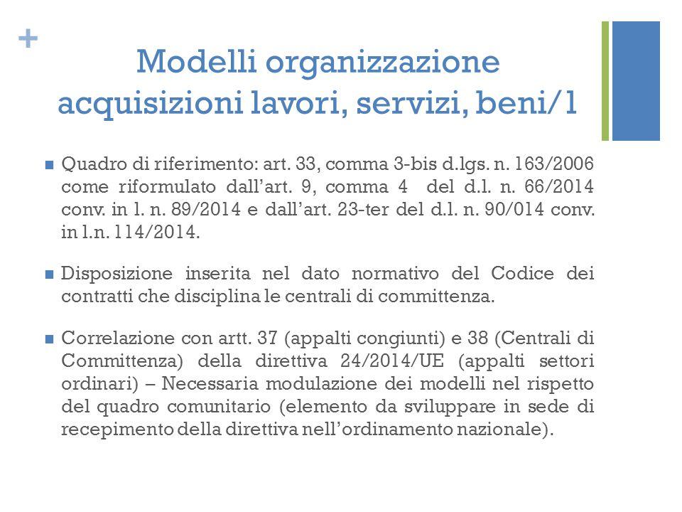 Modelli organizzazione acquisizioni lavori, servizi, beni/1