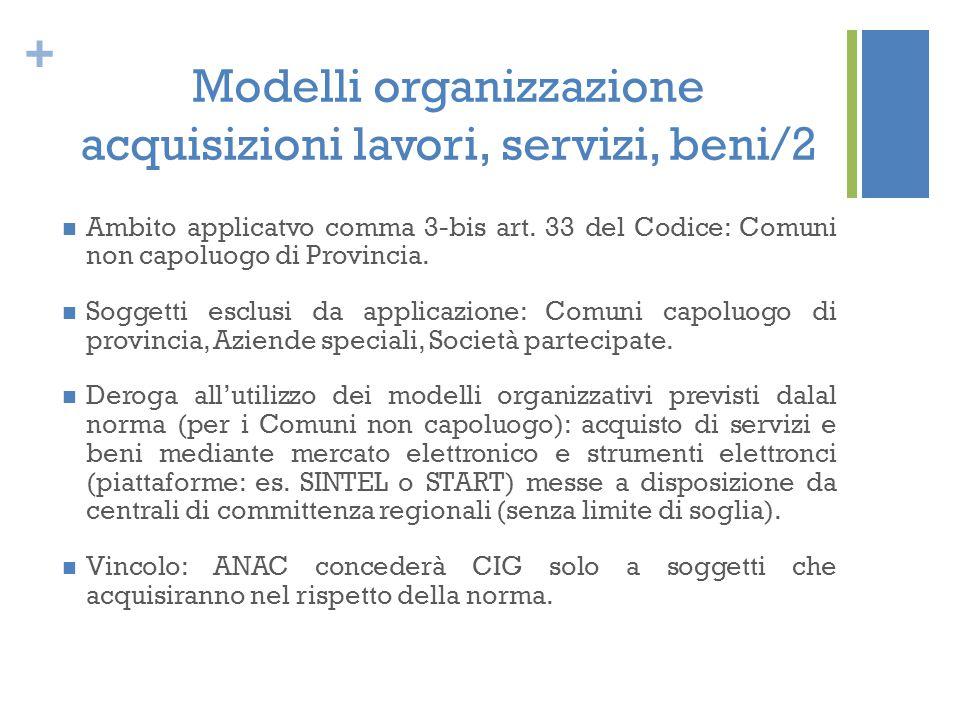 Modelli organizzazione acquisizioni lavori, servizi, beni/2