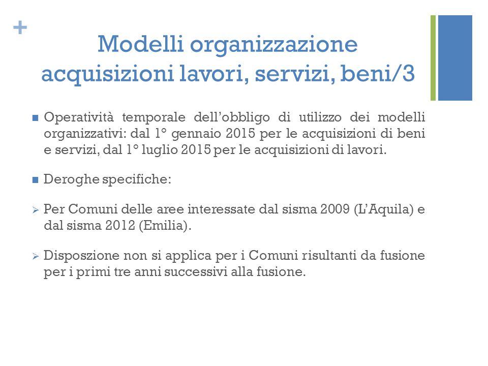 Modelli organizzazione acquisizioni lavori, servizi, beni/3