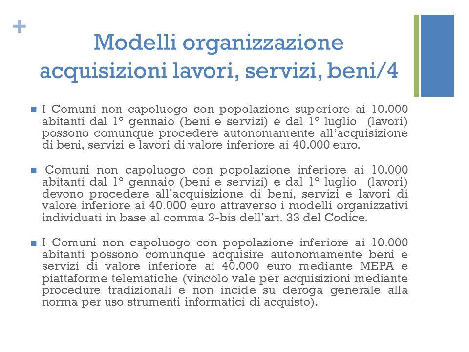 Modelli organizzazione acquisizioni lavori, servizi, beni/4