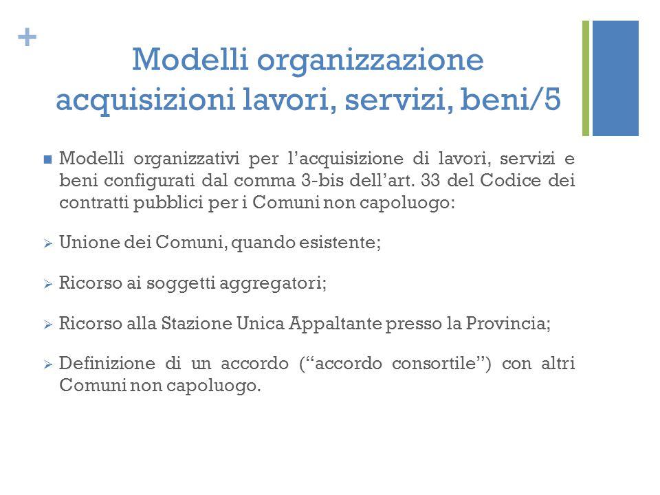 Modelli organizzazione acquisizioni lavori, servizi, beni/5